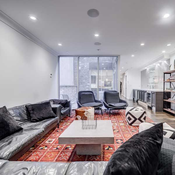 Avenues living room red rug square