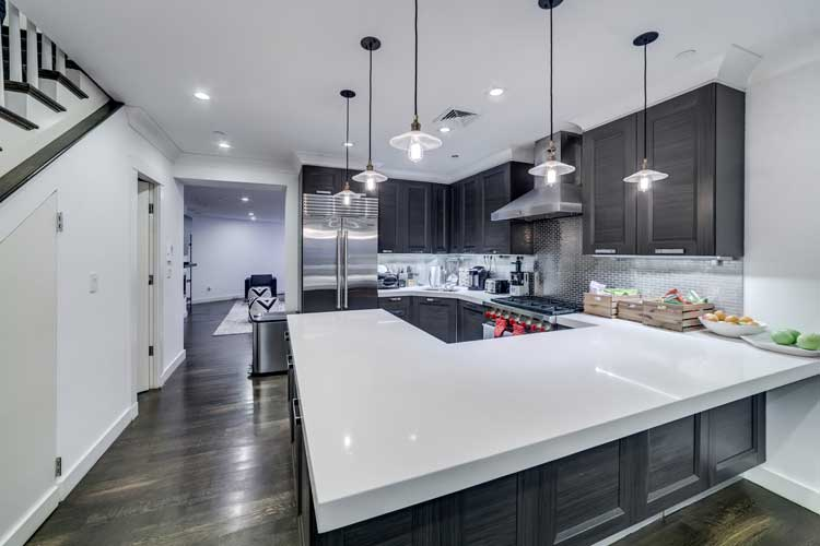 Avenues kitchen with dark cabinets